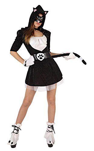 """Originale e femminile Costume Tenera Gattina composto da un abito nero con cappuccio con orecchie incorporate e gonna con sottogonna in tulle bianco, che riprende la maglia nella parte centrale (come da foto). Sono davvero tanti gli accessori e i dettagli che lo caratterizzano: cintura con fibbia """"felina"""", coda, guanti e cavigliere bianche che ricordano le zampe.Davvero unico!! Taglia T-1 (XS-S) - Busto 85-95cm - Vita 70-80cm - Fianchi 90-100cm"""