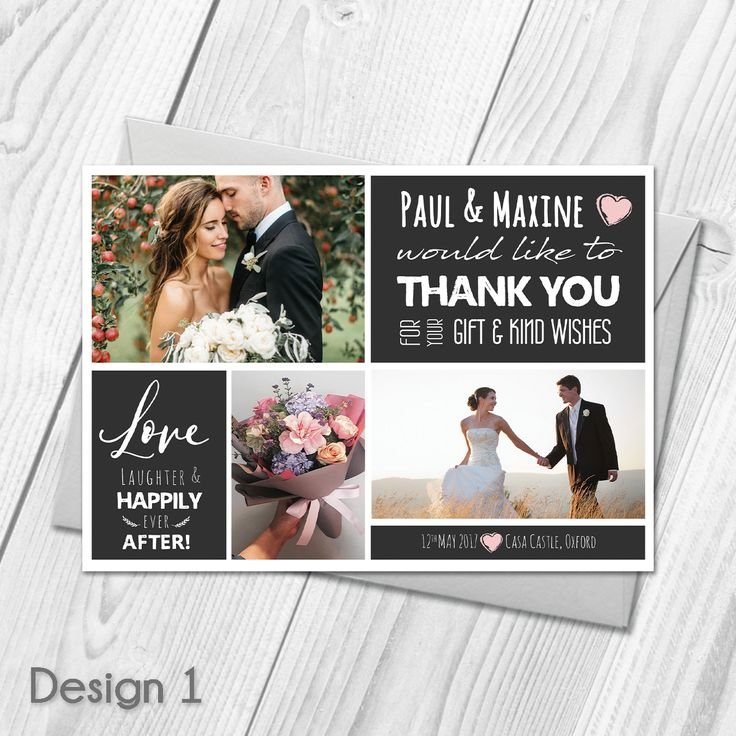 Personalised Wedding Thank You Cards With Photo