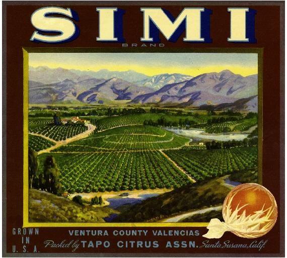 Santa Susana Simi Valley Orange Citrus Fruit Crate Box Label Advertising Art Print
