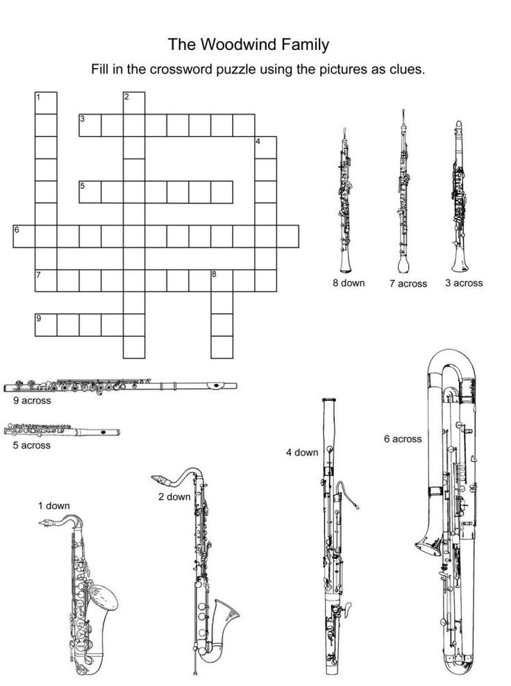 Woodwind instruments crossword puzzle