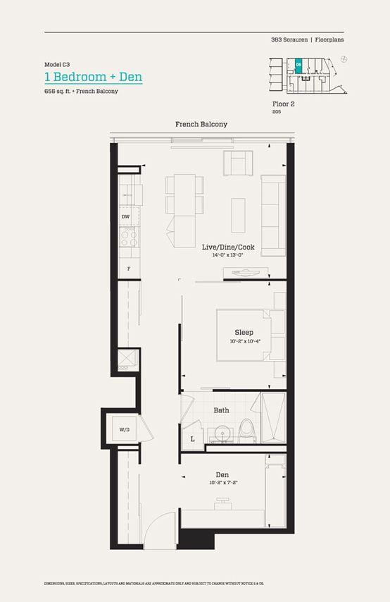 383 sorauren floor 2 model c3 1 bedroom den 656 sq ft for Floor plan in french