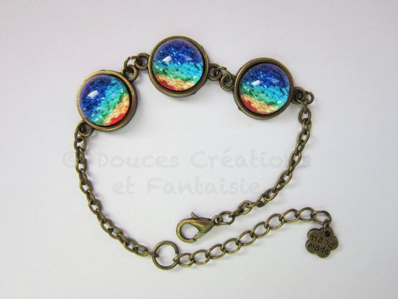 Jewelry cabochon bracelet rainbow sky bronze by DoucesCreations