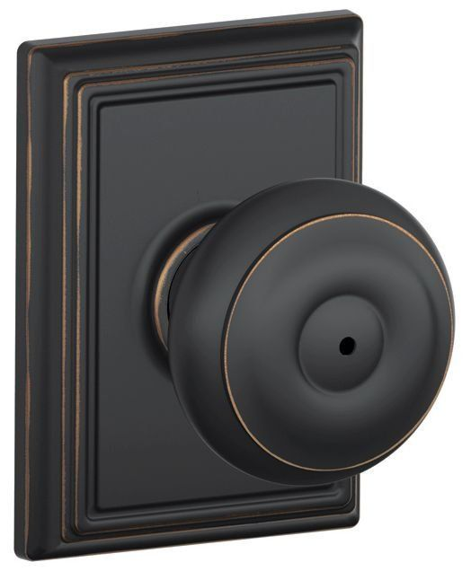 View the Schlage F40-GEO-ADD Privacy Georgian Door Knobset with the Decorative Addison Rose at Handlesets.com.