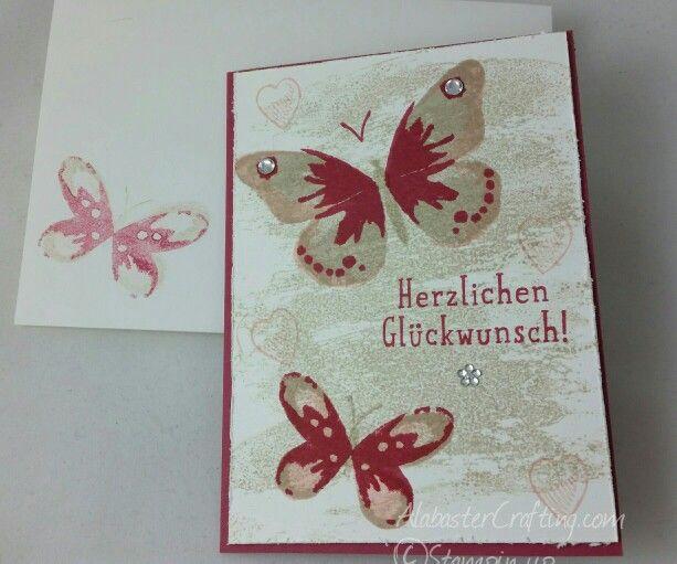 Geburtstagskarte/birthday card Stampin up Stempelsets/Stamp sets  Watercolor Wash  Großes Glück/ Big News  Watercolor Wings  Colours  Saharasand/Sahara Sand  Kirschblüte / Blushing Bride   Rosenrot/Rose Red