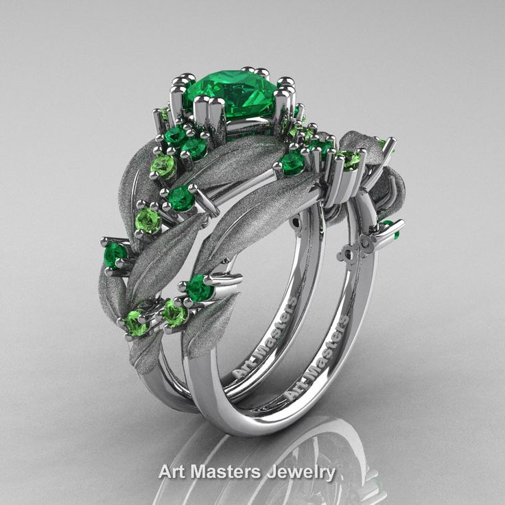 Nature Classic 14K White Gold 1.0 Ct Emerald Green Topaz Leaf and Vine Engagement Ring Wedding Band Set R340SS-14KWGGTEM | Art Masters Jewelry