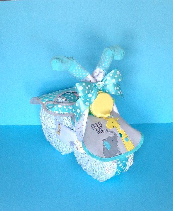 Gender Neutral Motorcycle  Diaper Bicycle  by PamperedBabyCreation