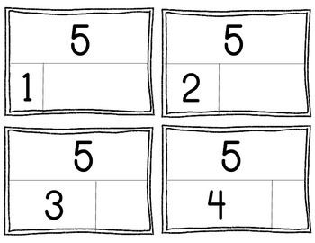 This is a set of part part whole flashcards. The parts are broken into appropriate sizes to help show number relationships. This is a great activity for whole group or small group math fluency practice. They can be placed in a station for independent fluency practice.