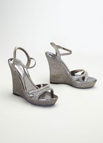 davids bridal wedding bridesmaid shoes glitter wedge sandal with crystal straps style anika pewter