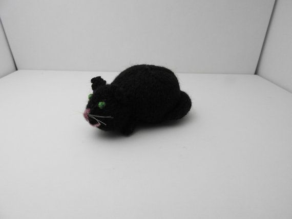 CUSTOM ORDER: Hand knitted Black Cat by knitsummore