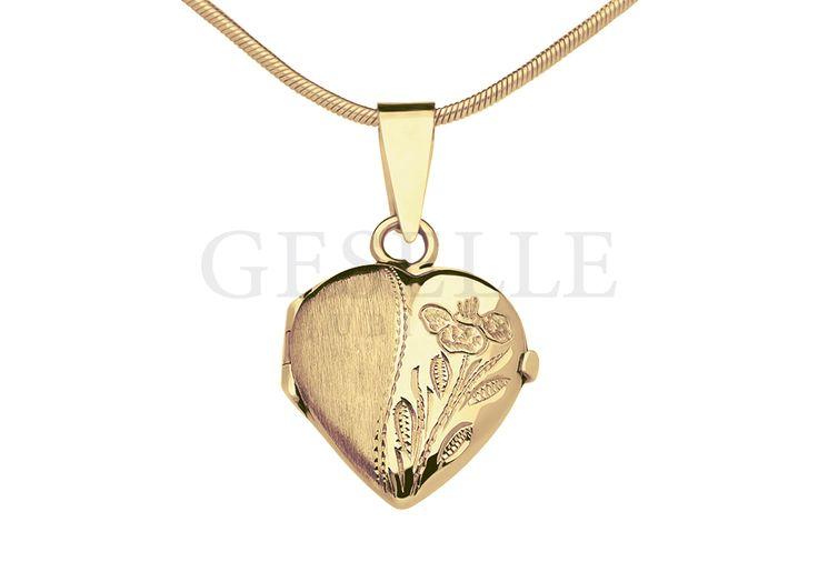 Złota zawieszka w kształcie serduszka - puzderko, sekretnik - delikatny, kwiatowy motyw