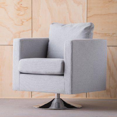 Varick Gallery Elsmere Fabric Swivel Club Chair Upholstery: Light Gray