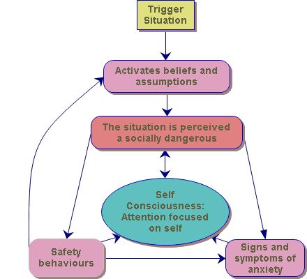 Figure 1 - The cognitive behavioural model of social anxiety devised by Clark and Wells 1995.
