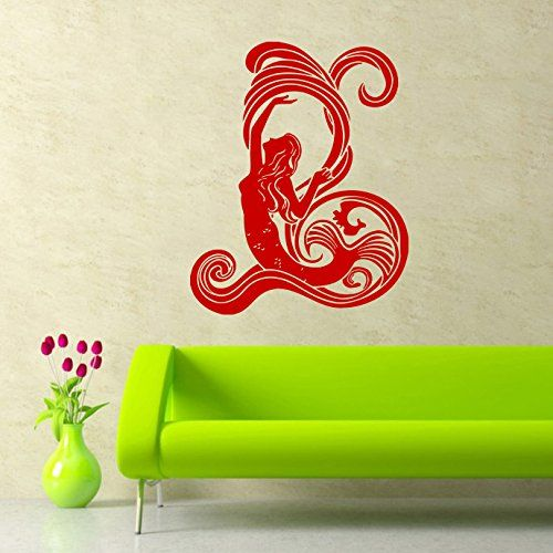 mermaid wall decal water nymph nature fish hair beauty sea animal wall decals vinyl sticker home