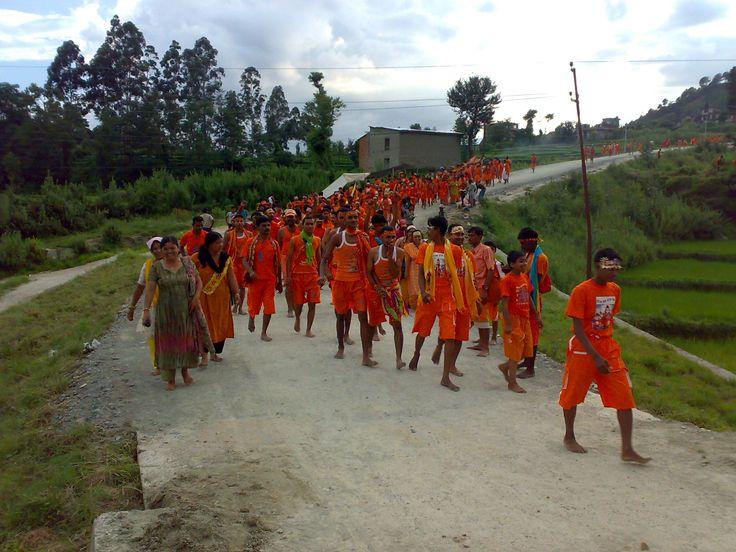 Hindu devotees of Lord Siv on their way to #Bolbam Tirtha Yatra begin their journey from Gaighat Seti River to Kedareshwor Lord Mahadev Temple at Baidam, India.