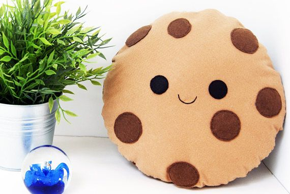Happy Cookie Cushion Plush Chocolate Chip Cookie Felt Food