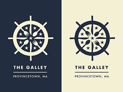 The Galley logo uses images of cutlery and crockery to evoke a ship's wheel.
