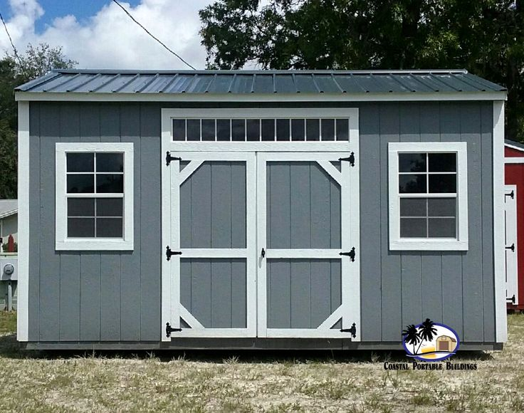 garden shed lighting. side garden shed with transom over doors. shown in dk. grey charcoal roof and white trim. additional lighting is never a bad thing! h