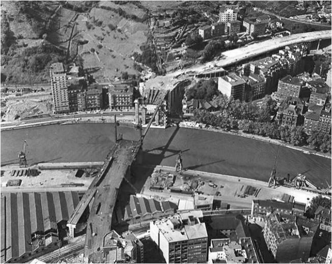 Construction of Puente de La Salve. Bilbao, 1.969
