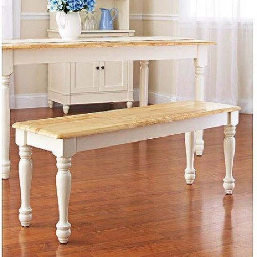 Bench for Kitchen Table White Farmhouse Style Wood Dining Seat Traditional Decor