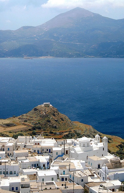 view from Kastro at Plaka, Milos, Greece