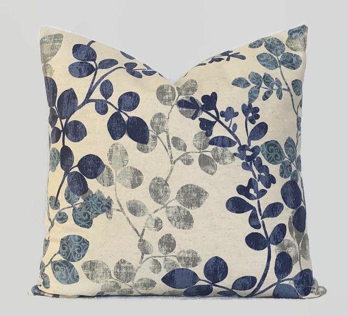 Farmhouse Blue Floral Decorative Throw Pillow Cushion Cover French