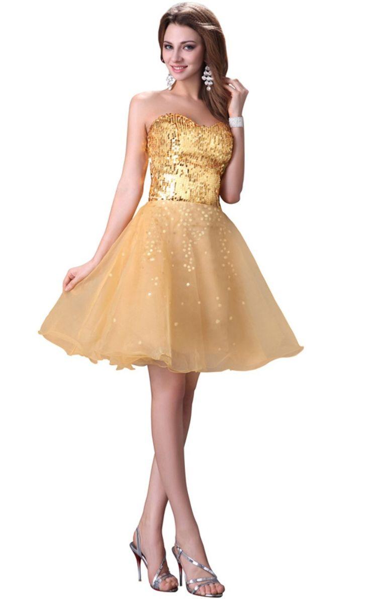 Short-Gold-Strapless-Cocktail-dress