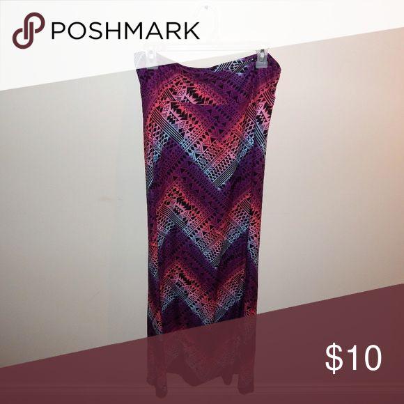Hot Kiss Purple/Blue/Pink Tribal Maxi Skirt Size L Super Cute and super soft Tribal print maxi skirt! Size L/XL Hot Kiss Skirts Maxi