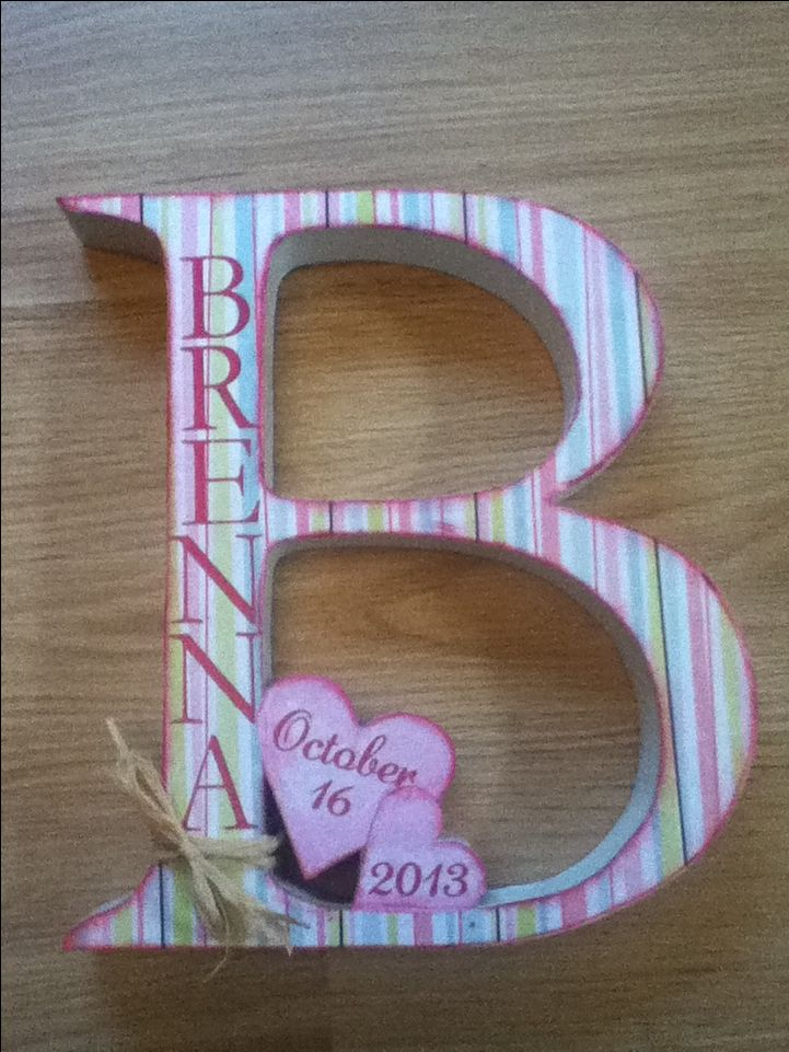 Cute gift idea for a baby shower or craft idea for a girls room.