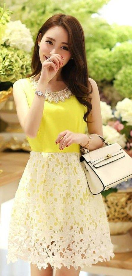 Diamond Collar Lace Skirt Sleeveless Dress YRB0505 - £12.20