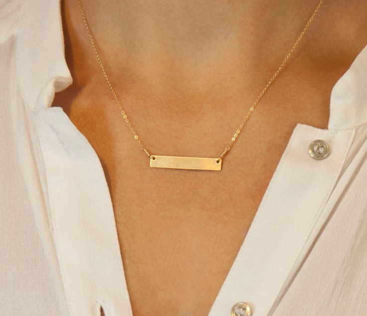 Gold Bar Necklace, Personalized Name Bar Necklace / 14k Gold Fill Bar Necklace / Name Plate Necklace / Silver, Gold & Rose Gold, LN101h by LayeredAndLong on Etsy https://www.etsy.com/listing/159485474/gold-bar-necklace-personalized-name-bar