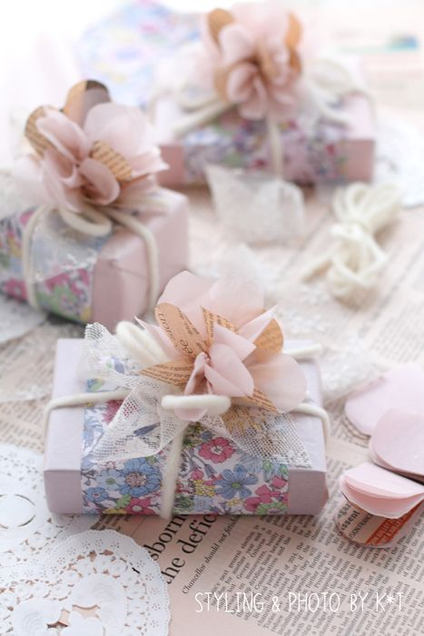 Pretty wrap with florals, yarn and lace
