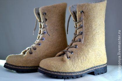 "Ботинки валяные женские ""Карамель"". Handmade."