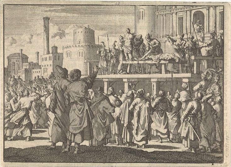 Sultan Murat IV laat van twee mannen armen en benen afhakken omdat zij hadden gerookt, ca. 1630, Jan Luyken, 1698