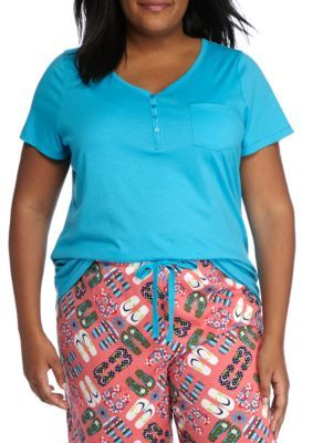 New Directions Paris Turquoise Plus Size Short Sleeve Henley Tee