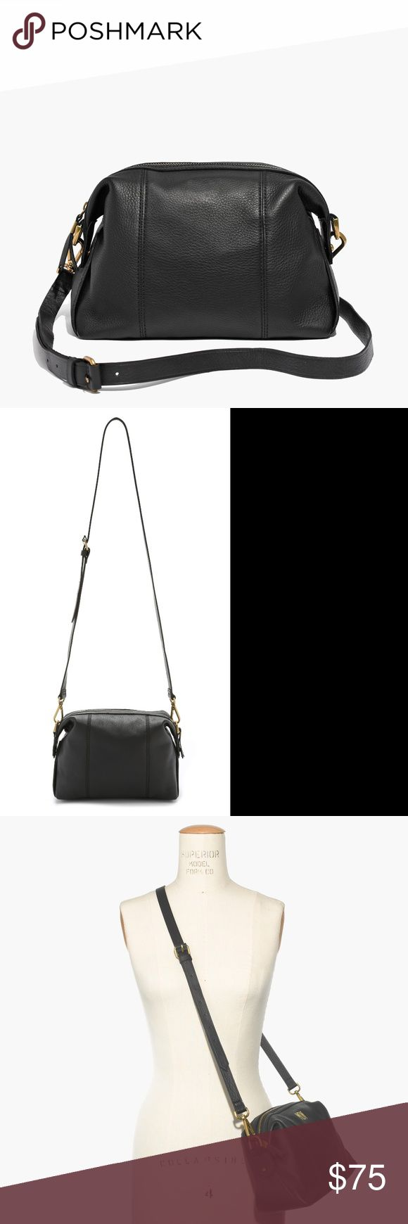 """Madewell The Mini Glasgow Crossbody Bag Black -in great condition! Minor signs of wear. No damage, tears, or stains. Clean inside with zipper pocket  Our go-anywhere bag in a new smaller size (that holds a surprising amount of stuff). Made of supersoft leather, this duffel-inspired design has a sturdy removable shoulder strap. Finished with our signature collar stud closures, this is one you'll have in your life for a long, long time—it's pretty much a shortcut to polish.   Leather. 21 1/2""""…"""