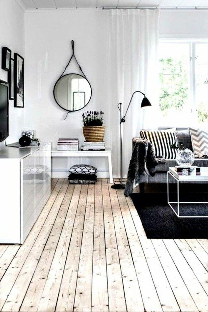 sol en parquet massif chene couleur clair pas cher, salon avec canape gris
