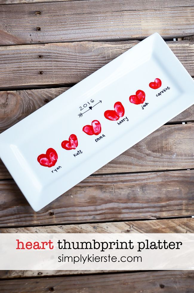 Add your children's fingerprints in the shape of heart onto a white serving platter, and you've got a perfect gift or darling Valentine's Day decor!