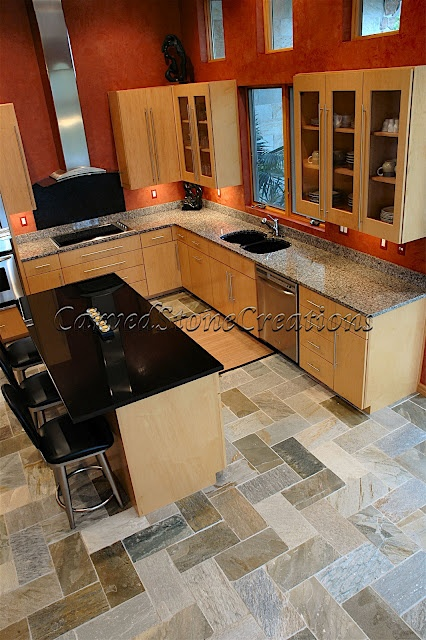 Rectangular Natural Cleft Slate Tiles From Carved Stone Creations Gave This Client S Kitchen A Very Unique