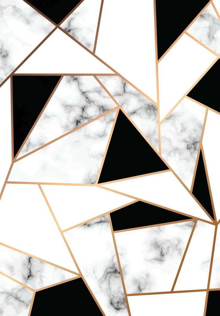 Wallpaper abstract geometric marbe; golden and marble; black and white