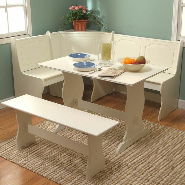 White Kitchen Table With Bench: 3 Piece Antique White Kitchen Dining Breakfast Room Set
