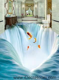 Waterfall Fish Jumping 00034 Floor Decals 3D Wallpaper Wall Mural Stickers Print Art Bathroom Decor Living Room Kitchen Waterproof Business Home Office Gift