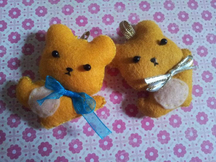 Felty brown bear brothers key chain/phone strap by Kats13stuff on Etsy