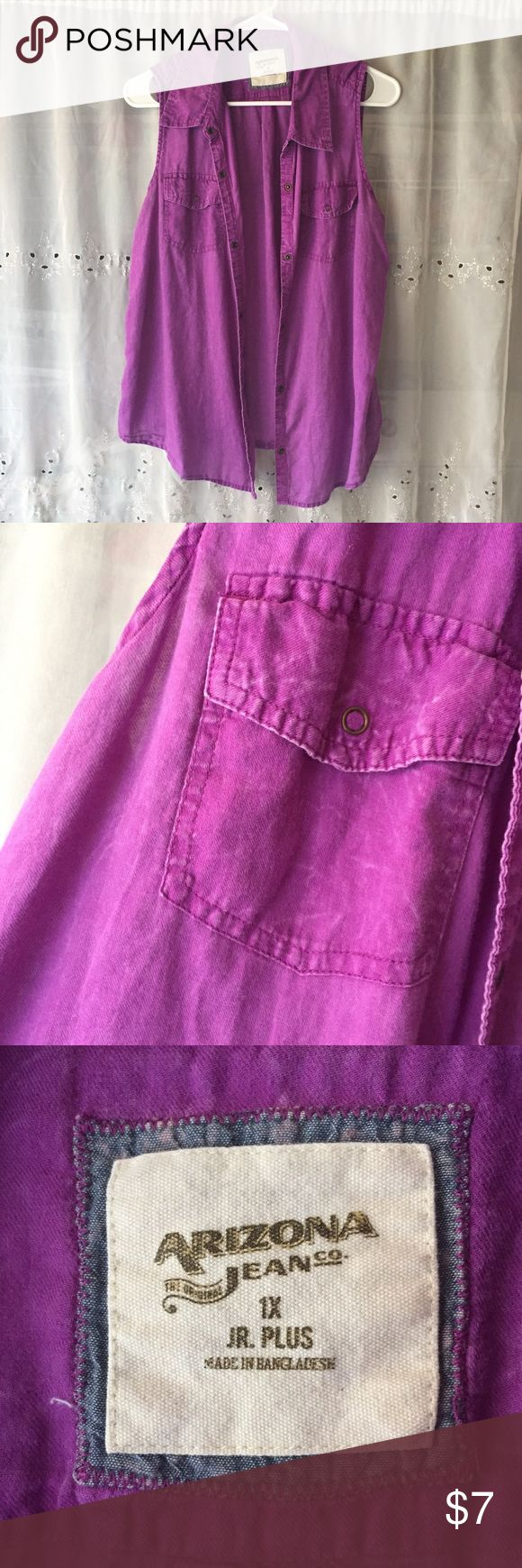 Arizona Jean Purple Vest Jr 1x Purple Vest with vintage wash look, perfect for spring and summer!  Brand: Arizona Jean Company  Size: junior 1x  Material: 100% cotton  Care:machine wash cold Very good condition condition,  From a pet free smoke free home Arizona Jean Company Tops Blouses