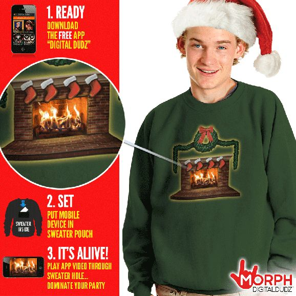Ugly Christmas Sweater Uses Your Smart Phone To Display An Animated Fireplace – Novelty Gift Ideas