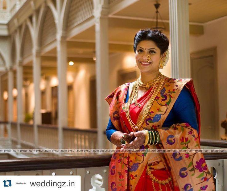 "397 Likes, 3 Comments - Gaurang Shah (@shahgaurang) on Instagram: ""A typical #Maharashtrian bride in #Gaurang's #paithani sari and gold jewellery. #GaurangShah…"""