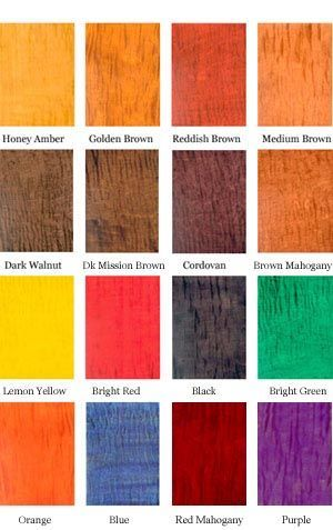 Transtint Dye Concentrate Color Chart