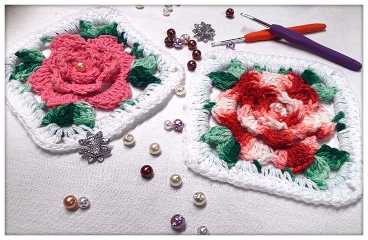 Square Rosa de crochê #4