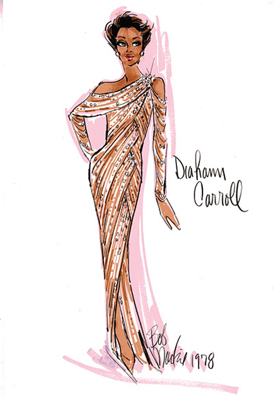Bob Mackie sketch for Diahann Carroll