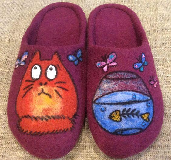 Тапочки домашние валяные ручная работа.  Handmade shoes.: