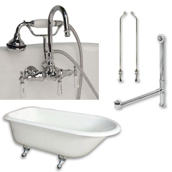 55 Inch Cast Iron Clawfoot Tub Complete Plumbing Package